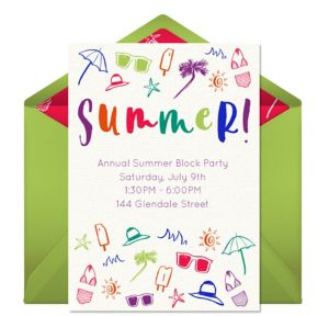 Online Summer Celebration Invitations