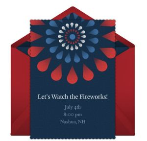 Online Red White and Blue Fireworks Invitations