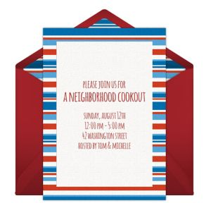 Online Patriotic Stripes Invitations