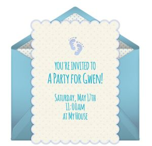 Online Baby Feet - Blue Invitations