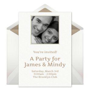 Online Frame - White Photo Invitations