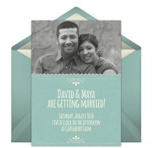 Online Ornate Frame - Blue Photo Invitations