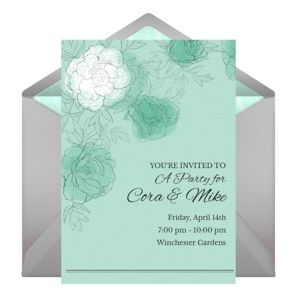 Online Floral Mint Gray Invitations