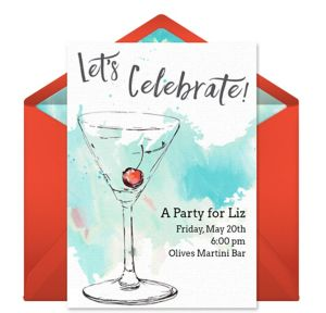 Online Aqua Storm Martini Invitations