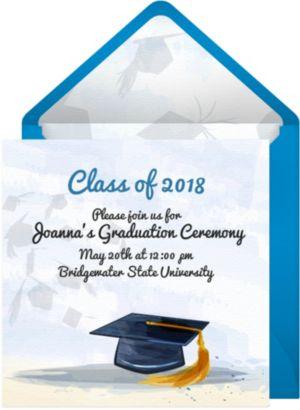 Online Watercolor Graduation Cap Invitations