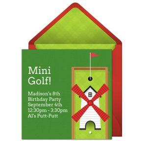 Online Mini Golf - Red Invitations