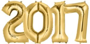 Giant Gold 2017 Number Balloons 4pc