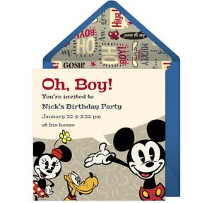 Online Retro Mickey Mouse Invitations