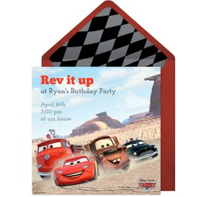 Online Cars Radiator Springs Invitations