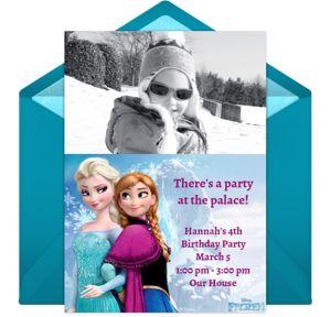 Online Frozen Photo Elsa Anna Photo Invitations