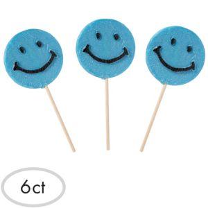 Blue Smiley Lollipops 6ct