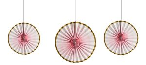 Gold & Pink Ombre Paper Fan Decorations 3ct