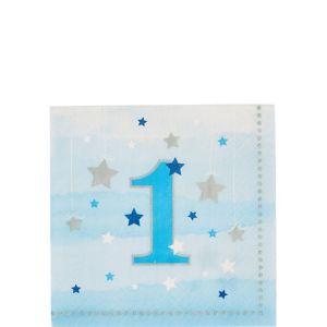 Blue Twinkle Twinkle Little Star 1st Birthday Beverage Napkins 16ct