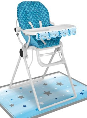 Blue Twinkle Twinkle Little Star 1st Birthday High Chair Decorating Kit 2pc