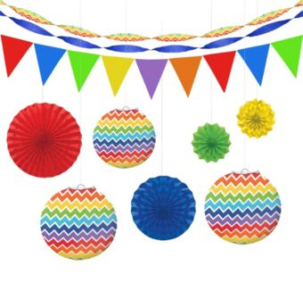 Rainbow Polka Dot & Chevron Decorating Kit
