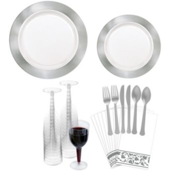 Premium Silver Border Tableware Kit for 20 Guests