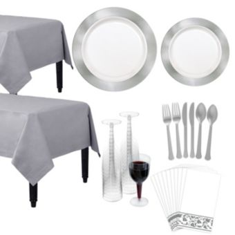 Premium Silver Border Deluxe Tableware Kit for 20 Guests