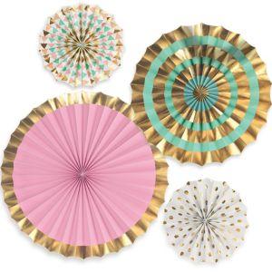 Pastel & Gold Paper Fan Decorations 4ct