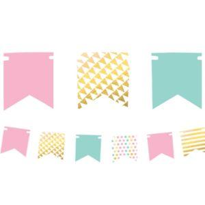 Mini Pastel & Gold Pennant Banner Kit