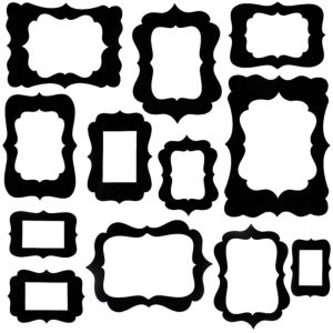 Black Scroll Frame Photo Booth Props 12ct