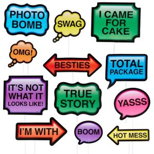 Trendy Phrases Photo Booth Props 13ct