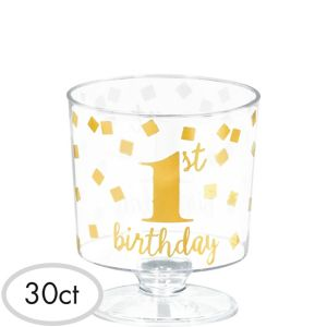 Mini Metallic Gold Confetti 1st Birthday Plastic Pedestal Cups 30ct