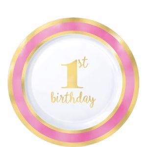 Metallic Pink & Gold 1st Birthday Premium Plastic Dessert Plates 10ct