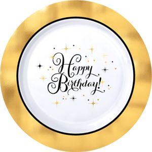 Metallic Gold Birthday Premium Plastic Dinner Plates 10ct
