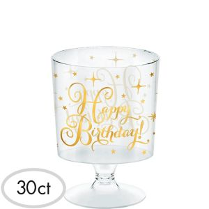 Mini Metallic Gold Birthday Plastic Pedestal Cups 30ct