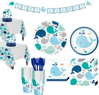 Blue Baby Whale Premium Baby Shower Tableware Kit for 16 Guests