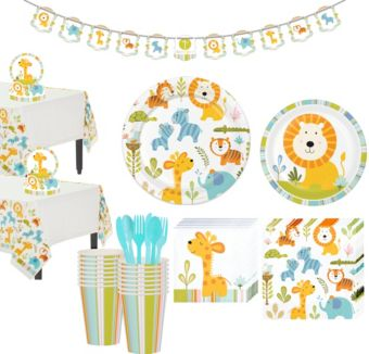 Happy Jungle Lion Premium Baby Shower Tableware Kit for 32 Guests