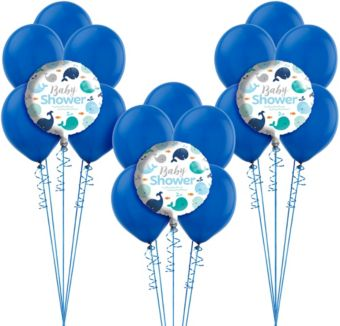 Blue Baby Whale Baby Shower Balloon Kit
