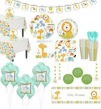 Happy Jungle Lion Premium Baby Shower Party Kit for 32 Guests