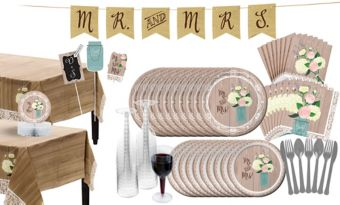 Rustic Wedding Bridal Shower Tableware Kit for 32 Guests
