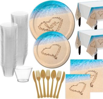 Beach Love Wedding Bridal Shower Tableware for 32 Guests