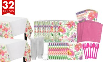 Watercolor Floral Bridal Shower Tableware Kit for 36 Guests