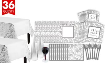 Silver Wedding Bridal Shower Tableware Kit for 36 Guests
