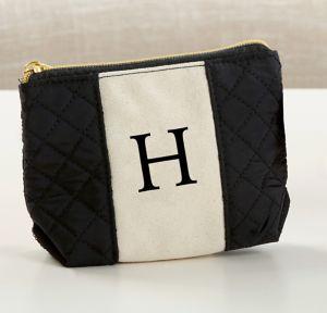 Black & White Monogram H Makeup Bag