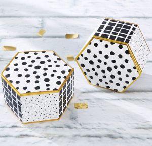 Modern Black & White Hexagon Favor Boxes 12ct