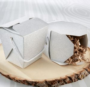 Glitter Silver Take-Out Style Favor Boxes 12ct