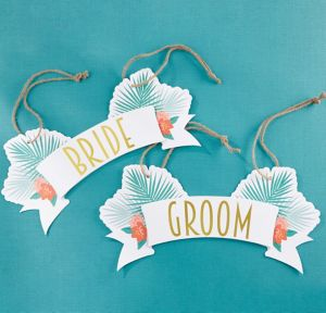 Tropical Chic Bride and Groom Chair Signs 2ct