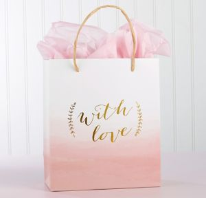 With Love Pink Watercolor Gift Bags 12ct