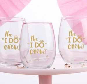 The I Do Crew Stemless Wine Glasses 4ct