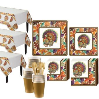 Traditional Thanksgiving Tableware Kit for 32 Guests