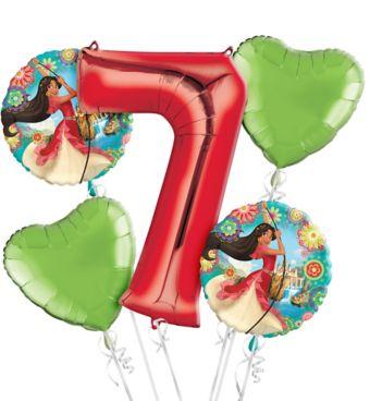 Elena of Avalor 7th Birthday Balloon Bouquet 5pc