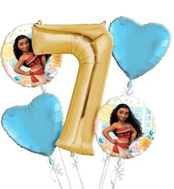 Moana 7th Birthday Balloon Bouquet 5pc