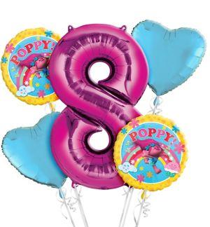 Trolls 8th Birthday Balloon Bouquet 5pc