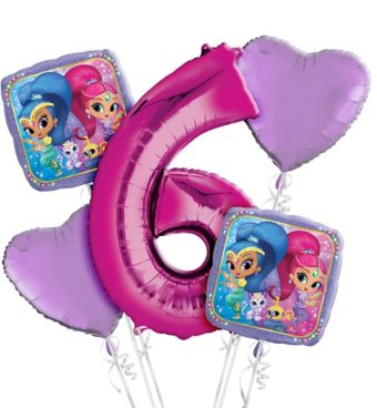 Shimmer and Shine 6th Birthday Balloon Bouquet 5pc