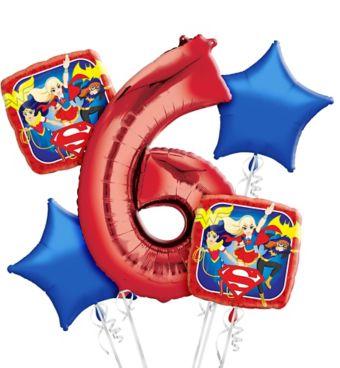 DC Super Hero Girls 6th Birthday Balloon Bouquet 5pc