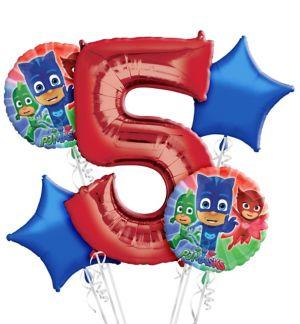 PJ Masks 5th Birthday Balloon Bouquet 5pc